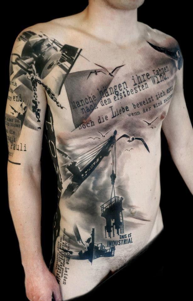 Awesome Trash Polka Tattoo