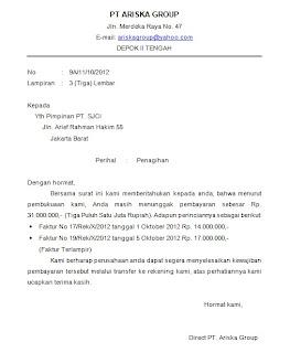Contoh Surat Tagihan Pelautscom Picture