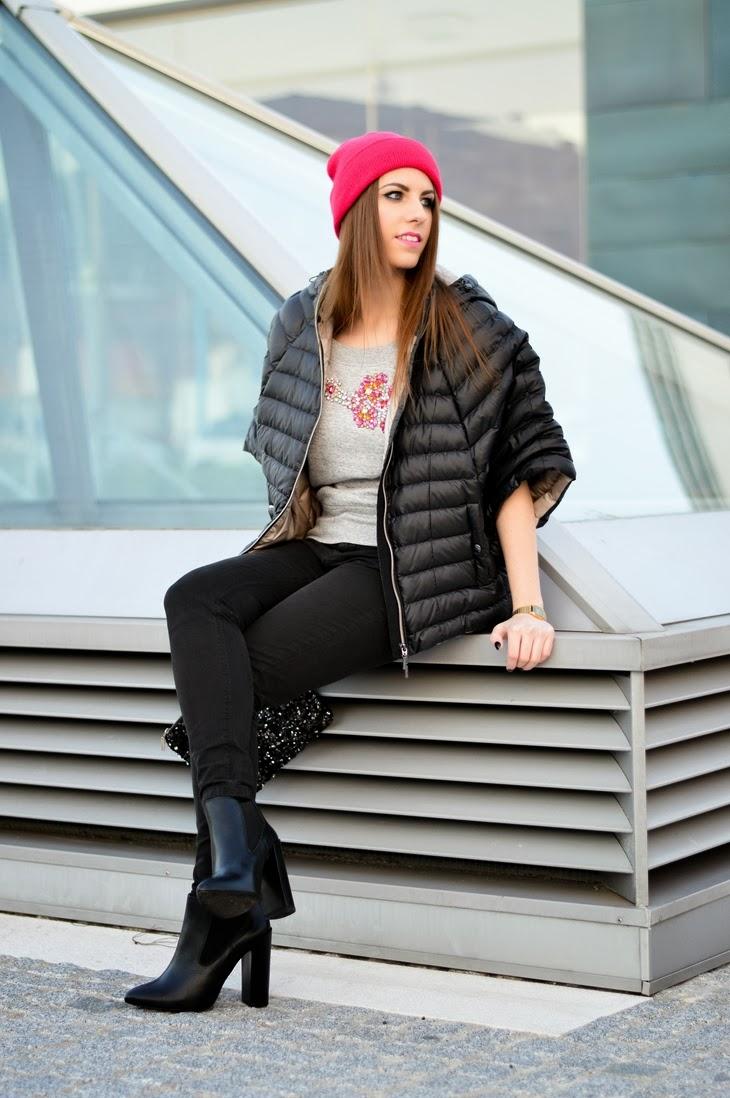 piumino maniche 3/4 sleeves piumino maniche corte iBlues coat Guess by Marciano sweatshirt Asos Beanie Zign Boots Zalando