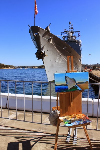 plein air oil painting of USS Chosin at Barangaroo wharf during International Fleet Review by artist Jane Bennett