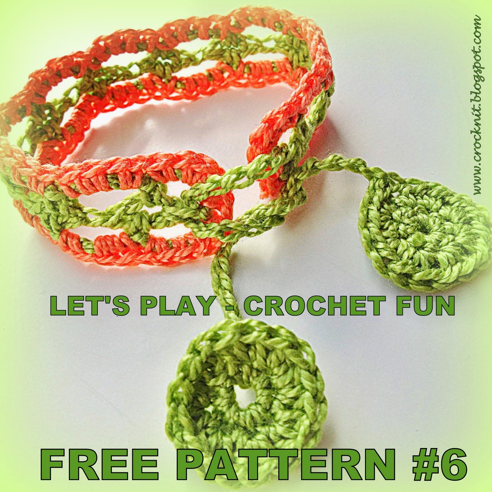 free pattern crochet bracelet wristband cotton