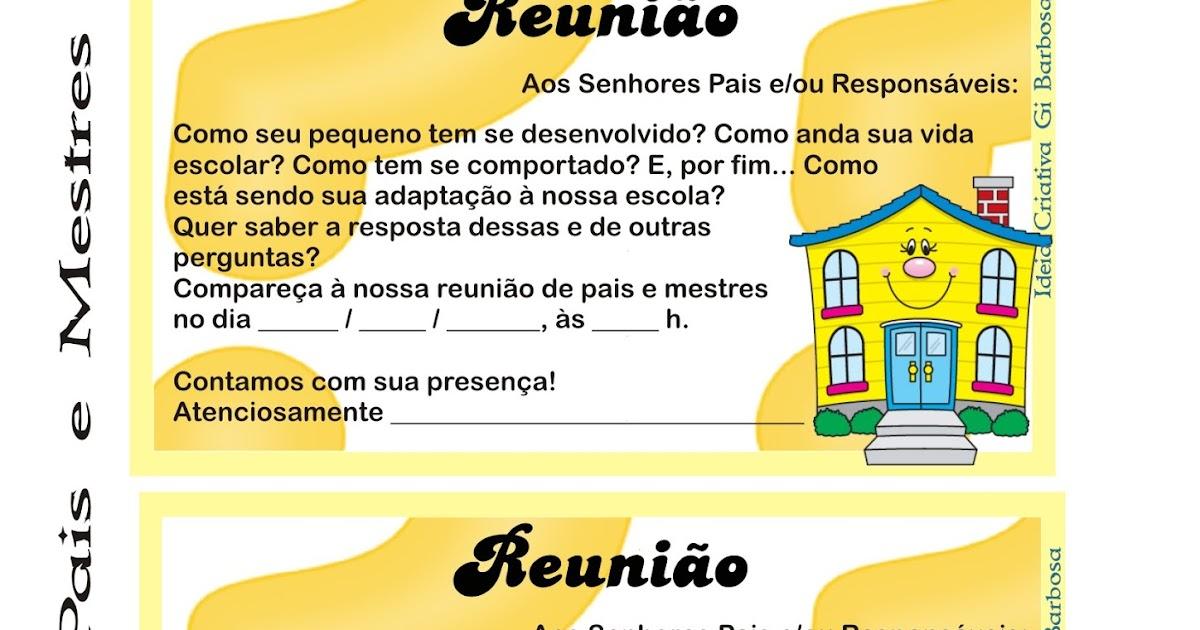 Muitas vezes Convite Reunião de Pais e Mestres | Ideia Criativa - Gi Barbosa  PN67