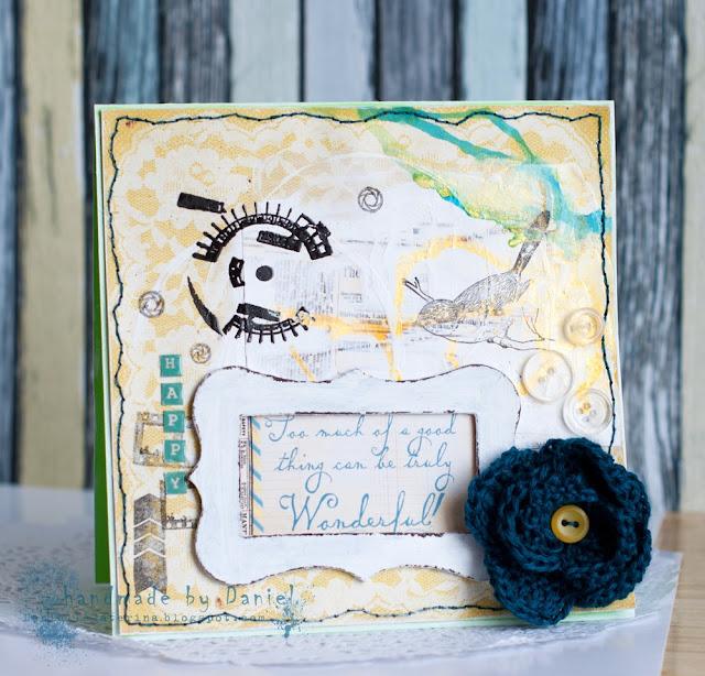 открытка + скрапбукинг + желтый + бирюзовый