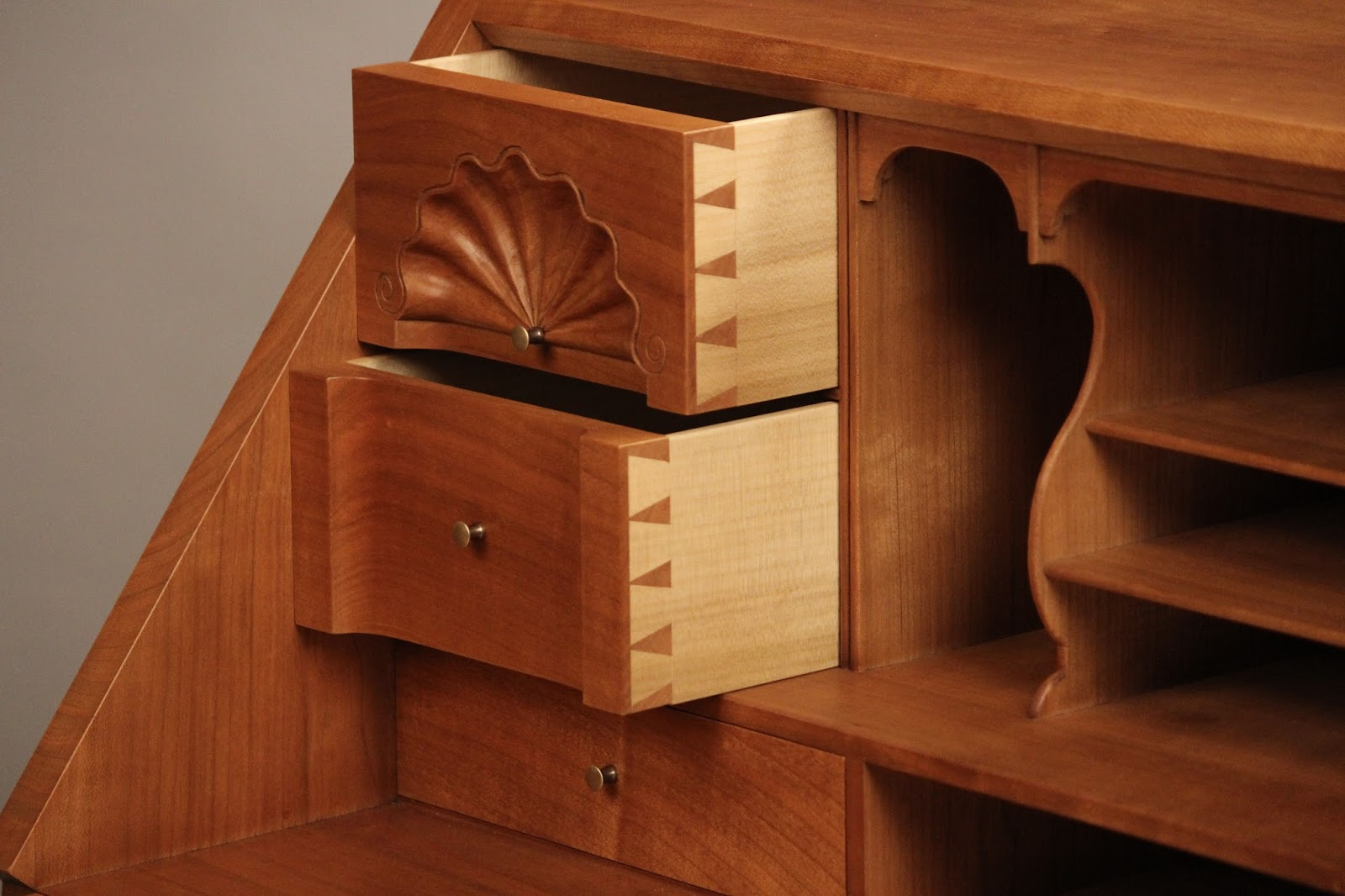 Carved Dovetailed Drawers custom desk