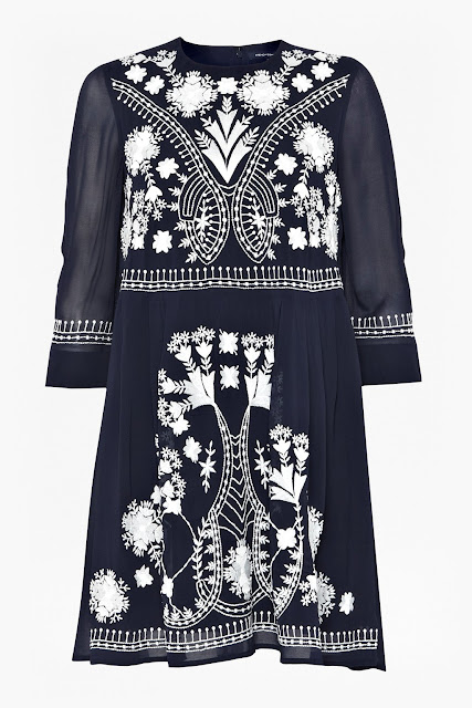 navy white embroidered dress, french connection kiko dress, french connection navy dress,