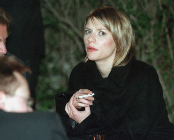 Claire Danes smoking a cigarette (or weed)
