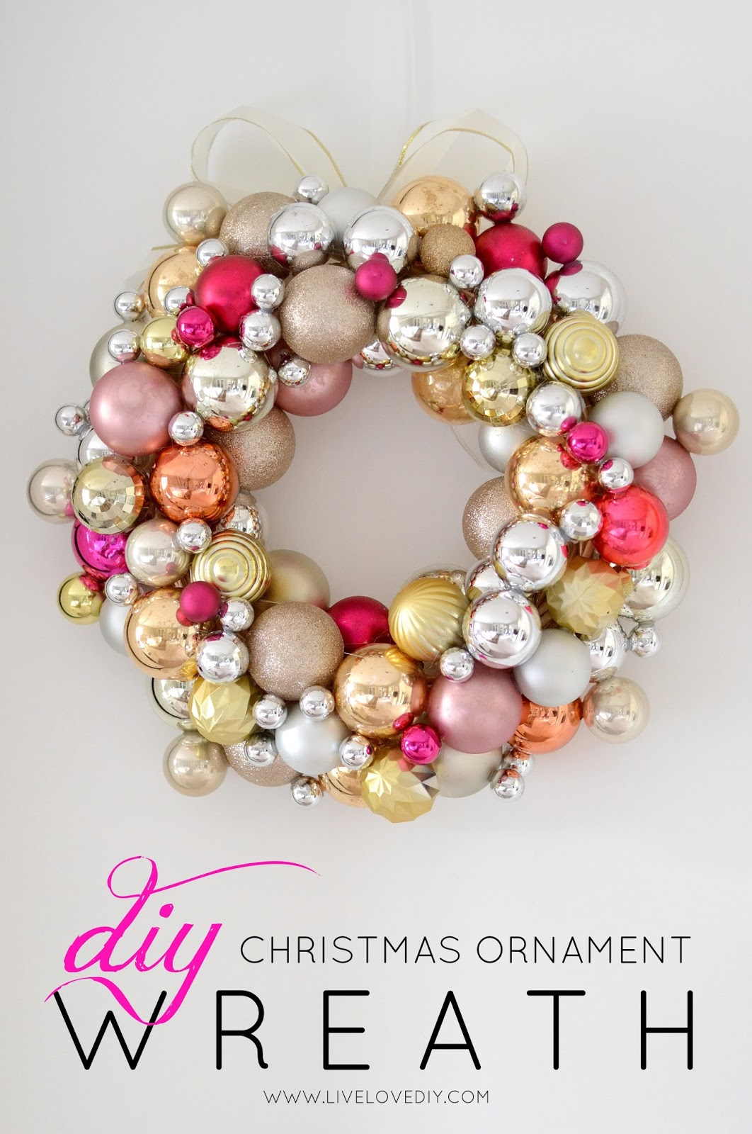 How to make a Christmas Ornament Wreath for less than $10! LOVE this idea!