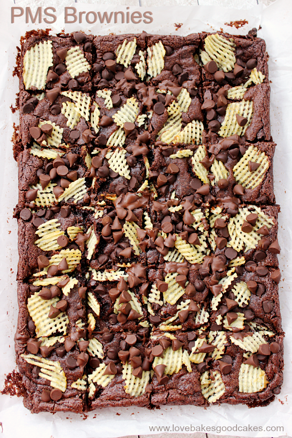 These PMS Brownies have a little bit of chocolate and a little bit of salty crunch. They're the perfect treat to get you through that time of the month ... or any time you're craving a sweet-salty combo!