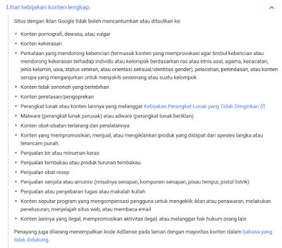 Pedoman konten kebijakan google adsense