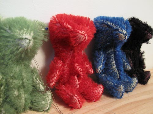 miniature mohair bears christmas colors