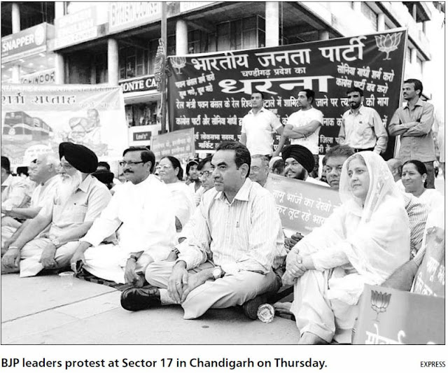 Ex-MP Satya Pal Jain and other BJP leaders protest at Sector 17 in Chandigarh on Thursday.