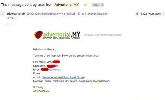 Tawaran job review menerusi Advertorial.MY