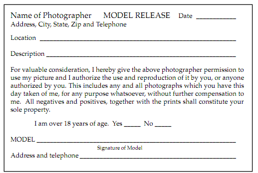 Here is an example of a short adult model release form.