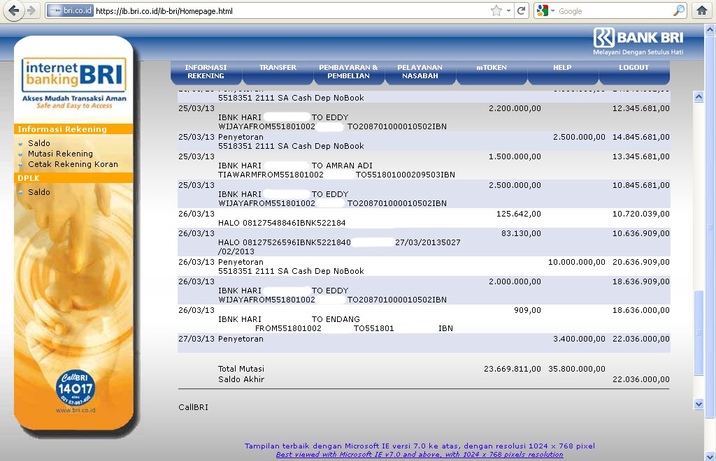 Gen elektronic Dan service: INTERNET BANKING BRI TRANSFER ...