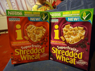 Nestle Shredded Wheat Superfruity Blue &amp; Black and Nestle Shredded Wheat Superfruity Red Berries