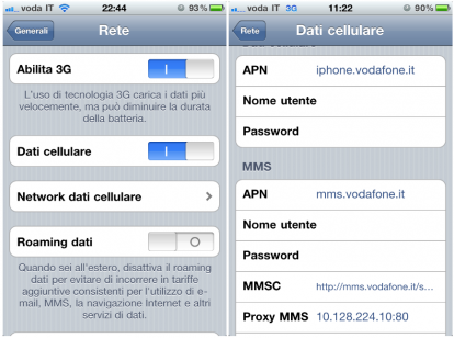 Vodafone Internet Configurazione iPhone 3G 4 5