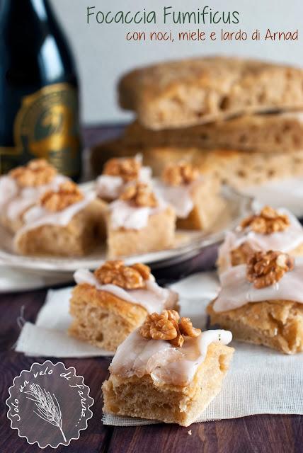 Focaccia alla Birra con noci, miele e lardo di Arnad