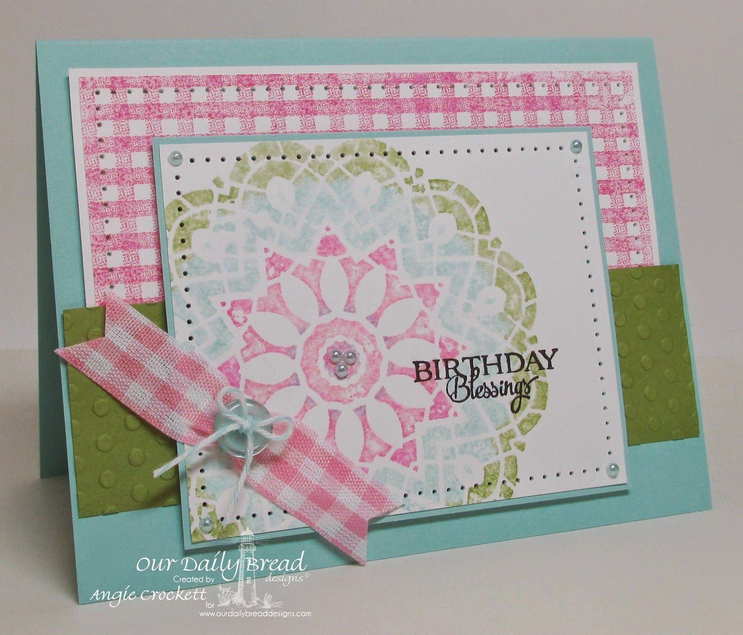 ODBD Birthday Doily, Gingham Background, Card Designer Angie Crockett