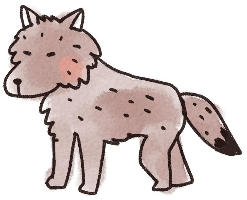 オオカミのイラスト 動物 ゆるかわいい無料イラスト素材集