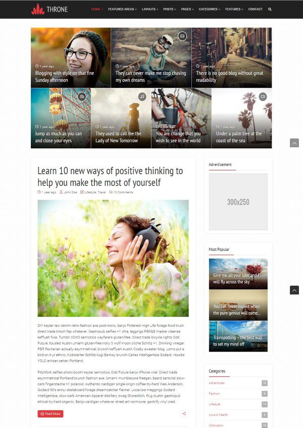 Throne blogging theme for serious bloggers