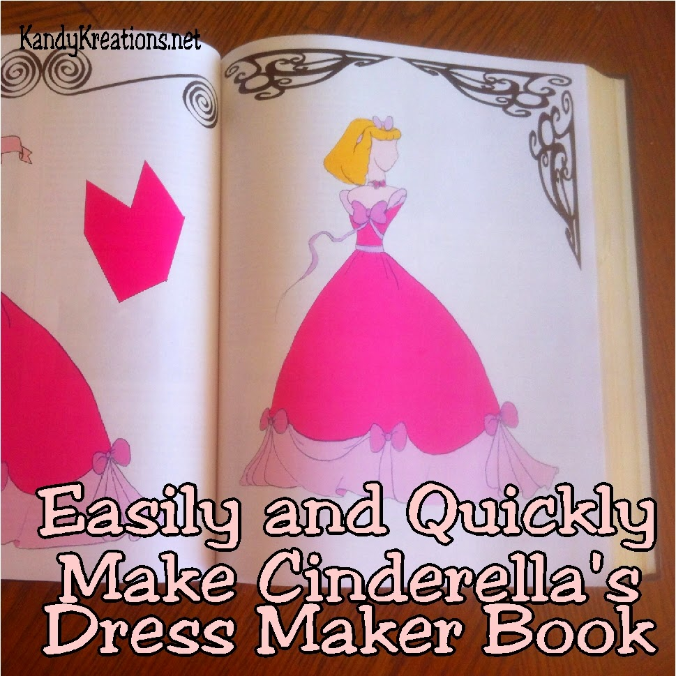 If you're having a crafting party or Cinderella birthday party, add Cinderella's dress maker book as a perfect dessert table or party centerpiece.  This easy DIY will help you create one in moments with an old book and two free Cinderellas dress pattern printables.