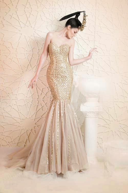 2014 Luxury Wedding Dresses Collection with Gold Color