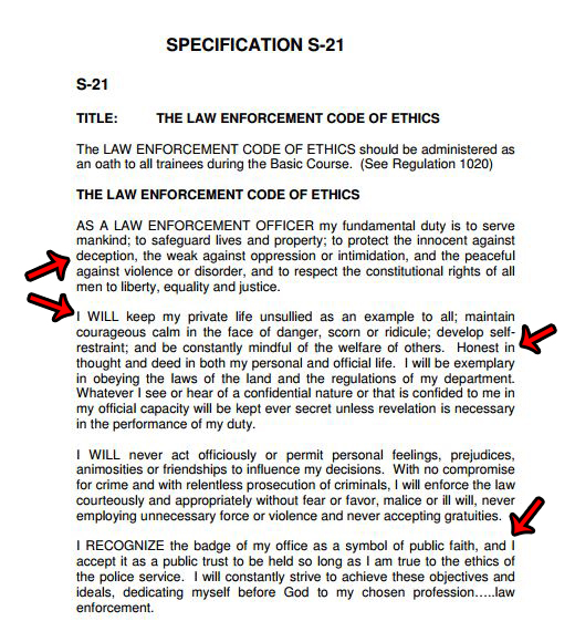 essays on law enforcement code of ethics