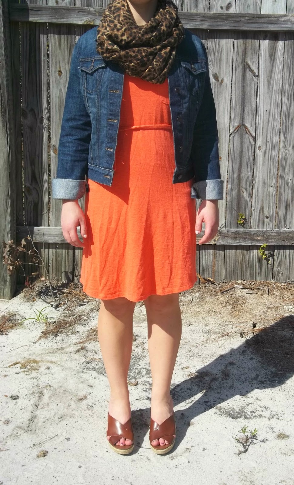 Coral and Leopard. http://mybowsandclothes.blogspot.com. Coral t-shirt dress, denim jacket, leopard scarf, brown wedges. #coral #outfitpost #outfit #outfitinspiration #BowsandClothes #leopard #spring #style