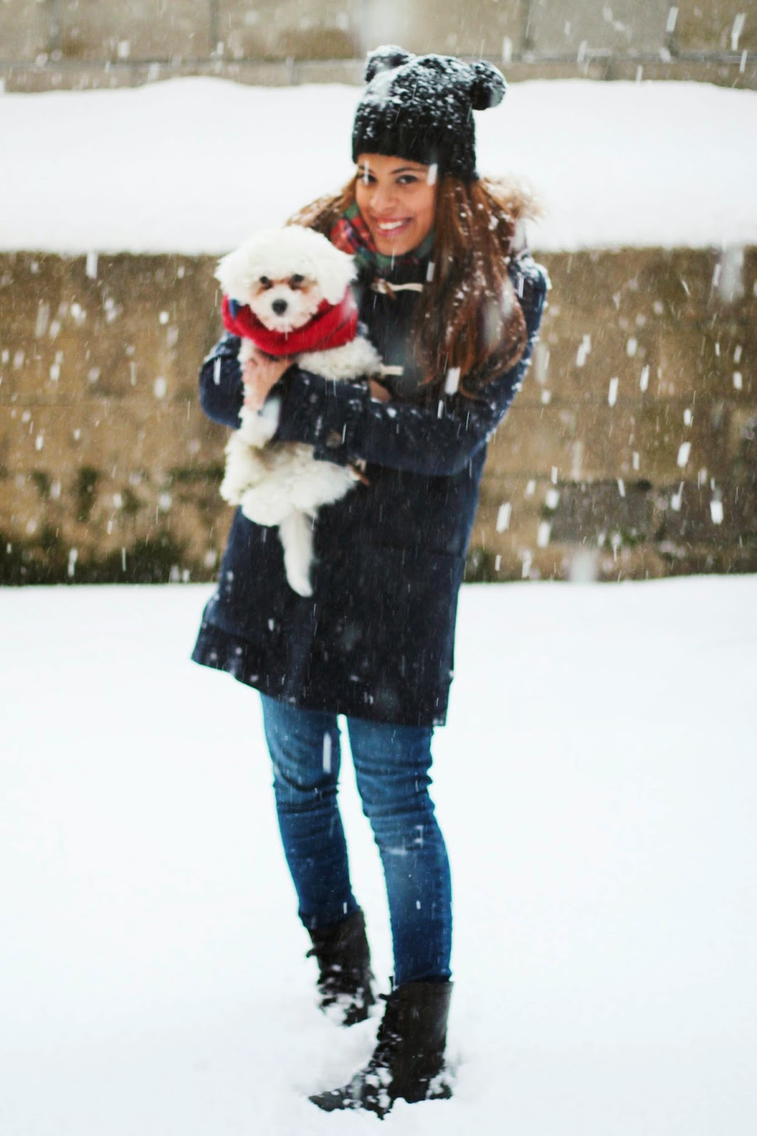 snow day, winter style, winter, cold, oldnavy, target, steve madden, toggle coat, coat, scarf, blanket scarf, plaid, combat boots, boots, puppy, maltese, new york, juno, new york city, fashion, blizzard, beanie, double pom beanie hat, hat, fashion bloggers, blogger, bloggers, instagram, fun, family, weather, cold, cool,