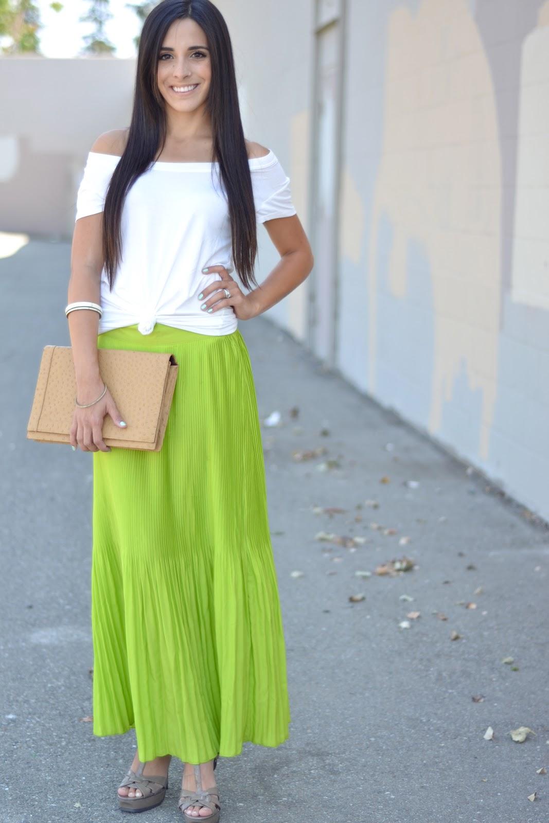 restyle restore rejoice neon pleated maxi skirt