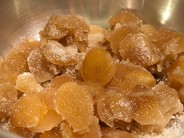 Candied ginger, crystallized sugar