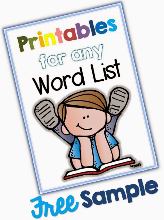 FREE Printables for any Word List Facebook FAN FREE Download