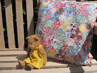 Liberty tana lawn paper pieced epp hexagon cushion