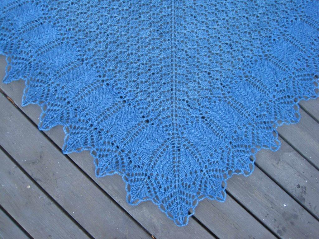 Lappone: Bertha Lace Shawl in Jeaba Blue and lifelines