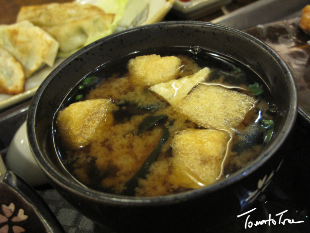 miso soup with tofu dumpling bigfish udon with tempura and