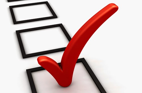picture of questionnaire check boxes with one box checked with a red checkmark