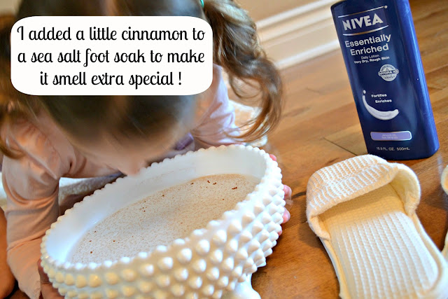 cinnamon sea salt foot soak and NIVEA lotion from Sam's club #NIVEAMoments