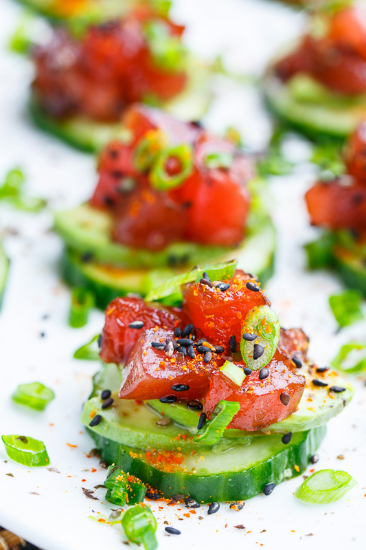 Spicy Tuna and Avocado Cucumber Sushi Bites on Closet Cooking