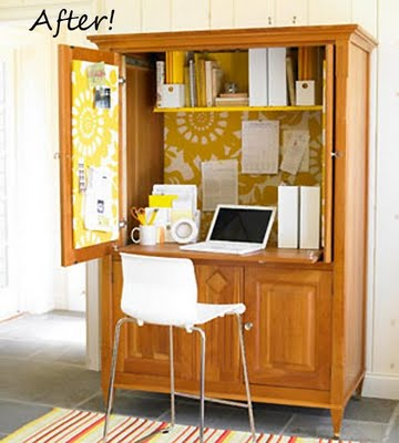 This Old Entertainment Armoire Was Transformed Into A Stylish Home Office  With Contemporary Flair. They Replaced The Upper Pullout Shelf With A Fixed  ...