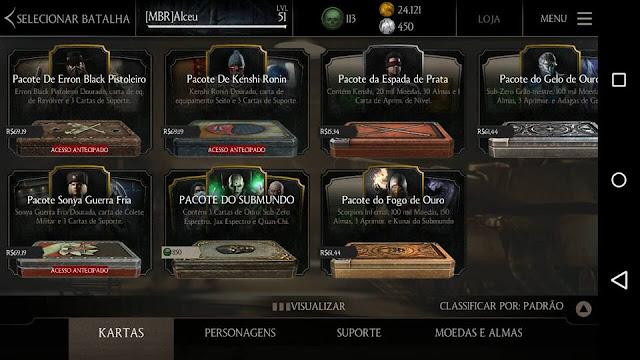 Print da tela da loja de pacotes de Kartas do MKX Mobile - por Mineira Sem Freio