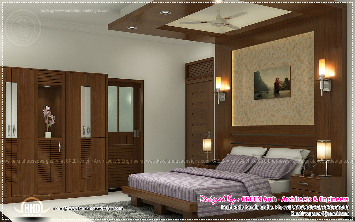 Beautiful home interior designs by green arch kerala for Bedroom designs middle class