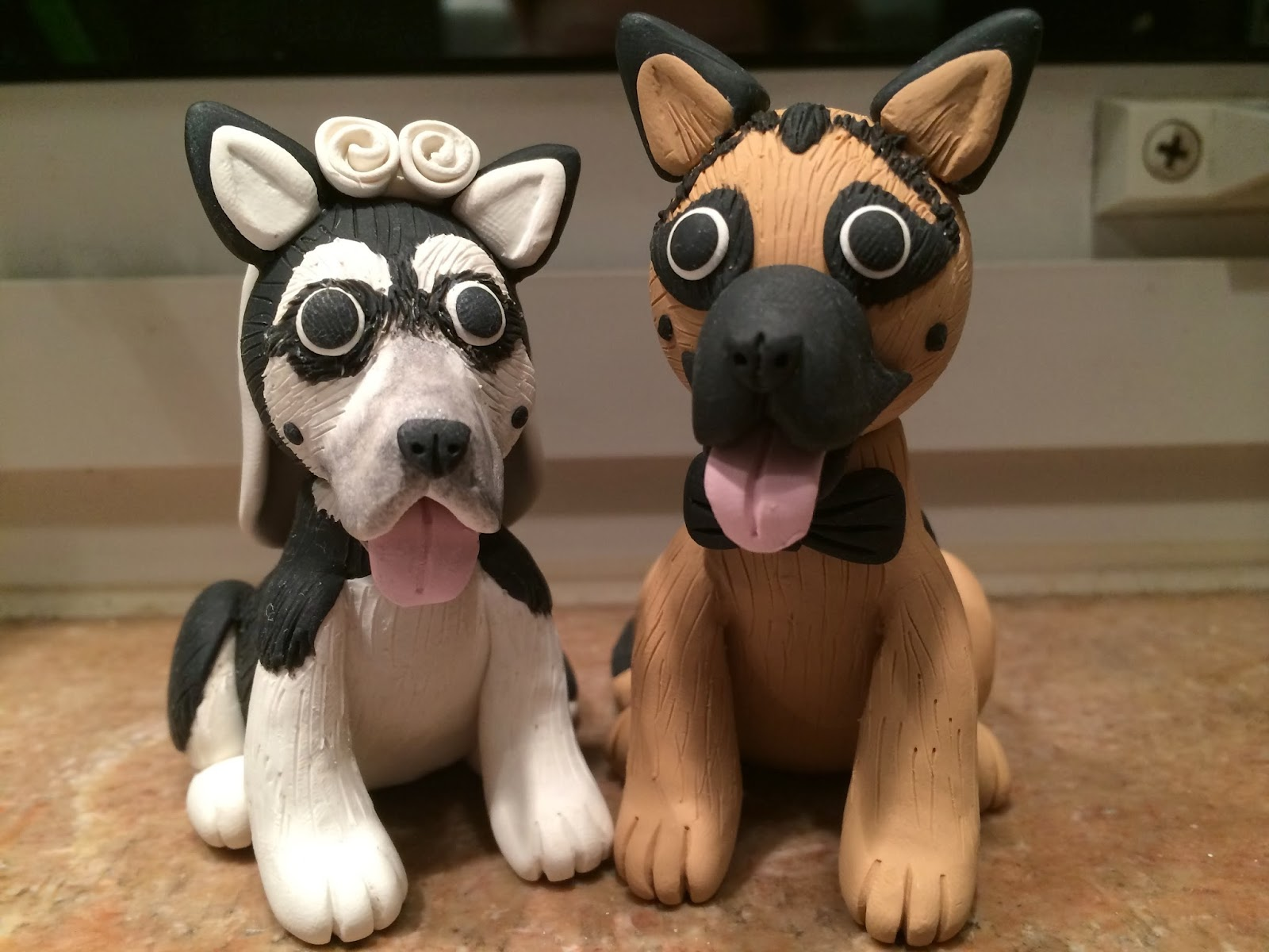 Doeblerghini Bunch:  Pepper and Zeke Clay Cake Topper
