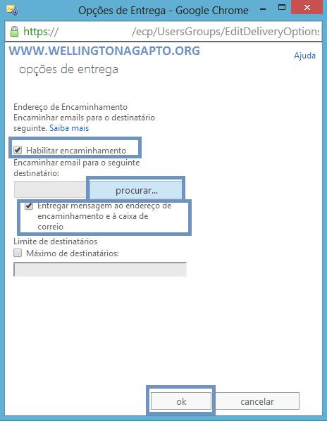 como utilizar o EAC ou o PowerShell para configurar o encaminhamento de email para uma caixa de correio.