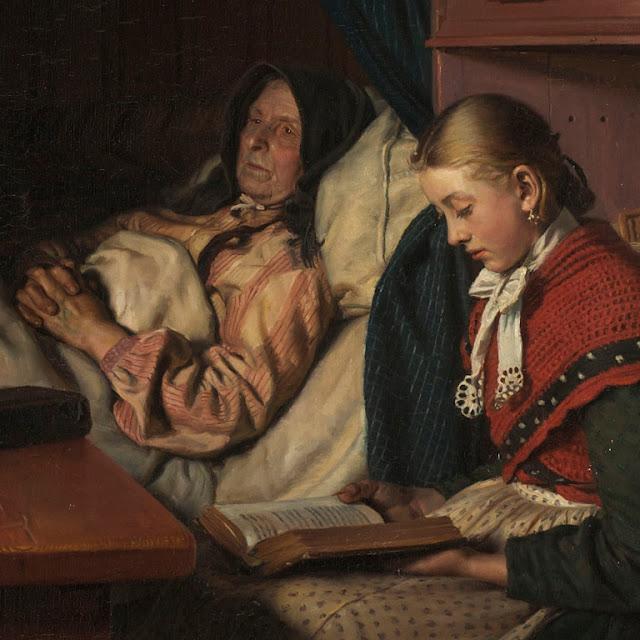 Udsnit fra 'Ved bedstemoderens sygeseng' af Michael Ancher