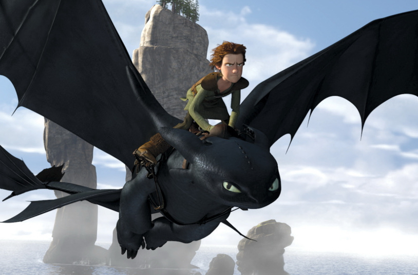 Hiccup flying on a dragon in How to Train Your Dragon animatedfilmreviews.blogspot.com