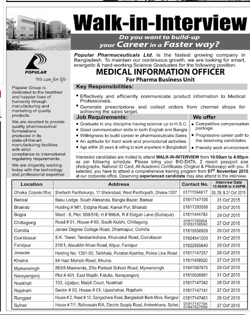 Post: Medical Information Officer | Organization: Popular Pharmaceuticals Ltd