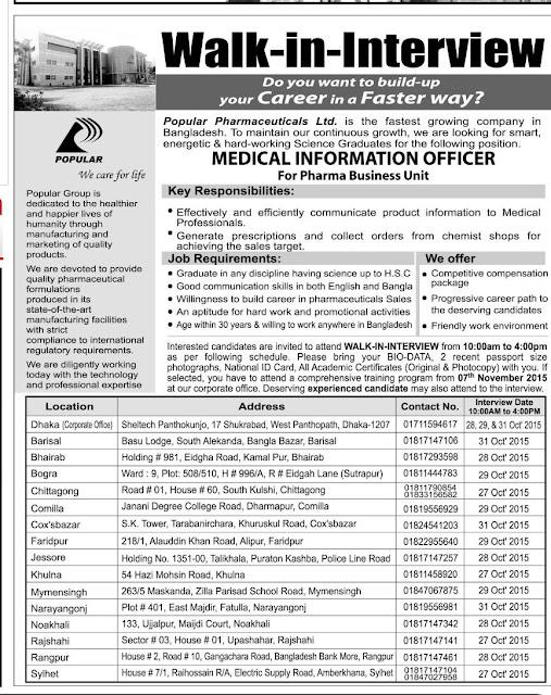 Post: Medical Information Officer | Organization: Popular Pharmaceuticals Ltd