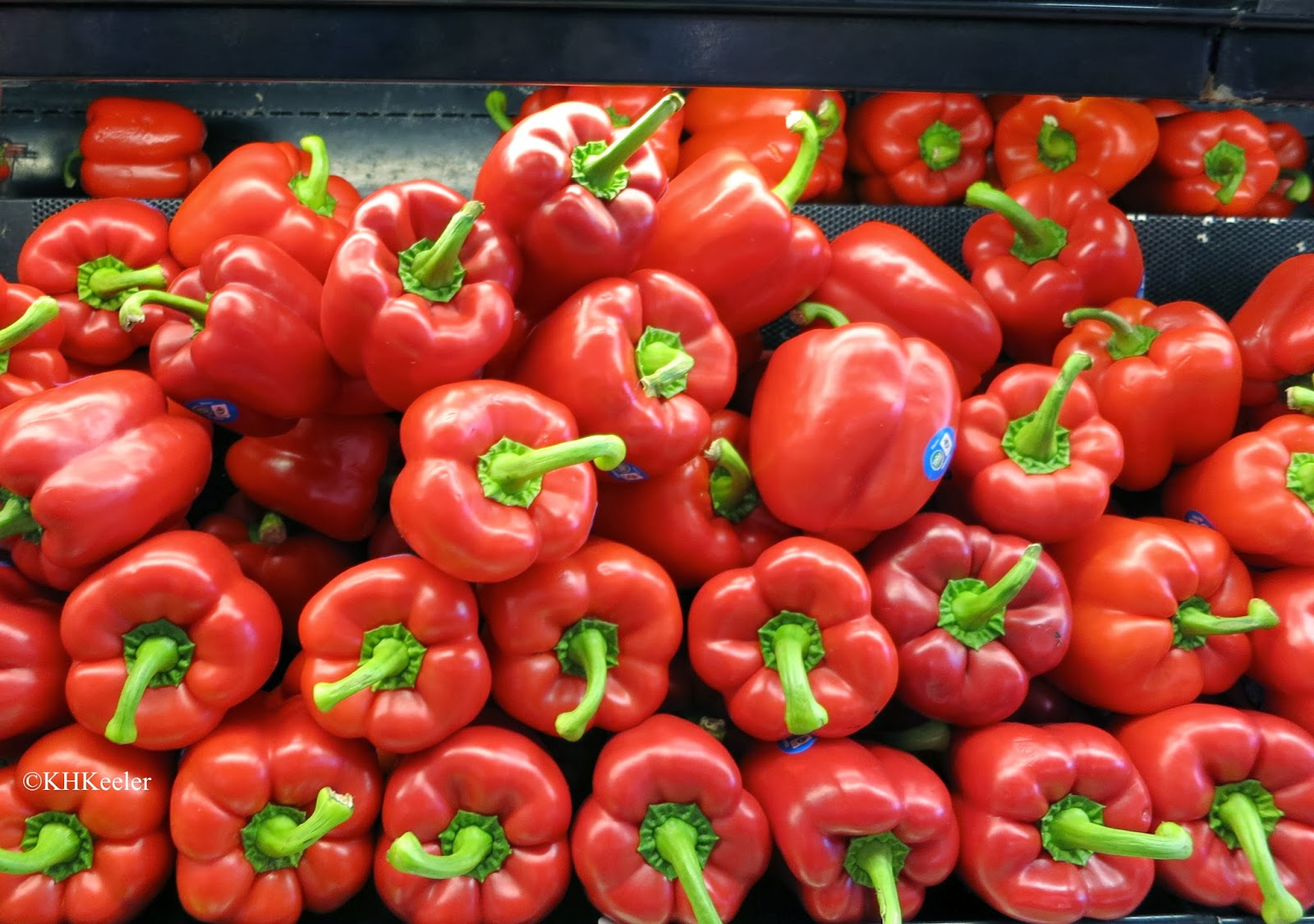 red peppers in a grocery store