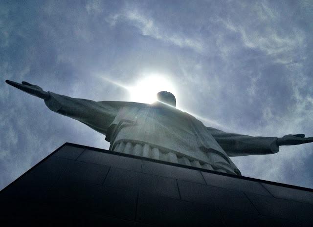Looking up at Christ the Redeemer, Rio de Janeiro, Brazil