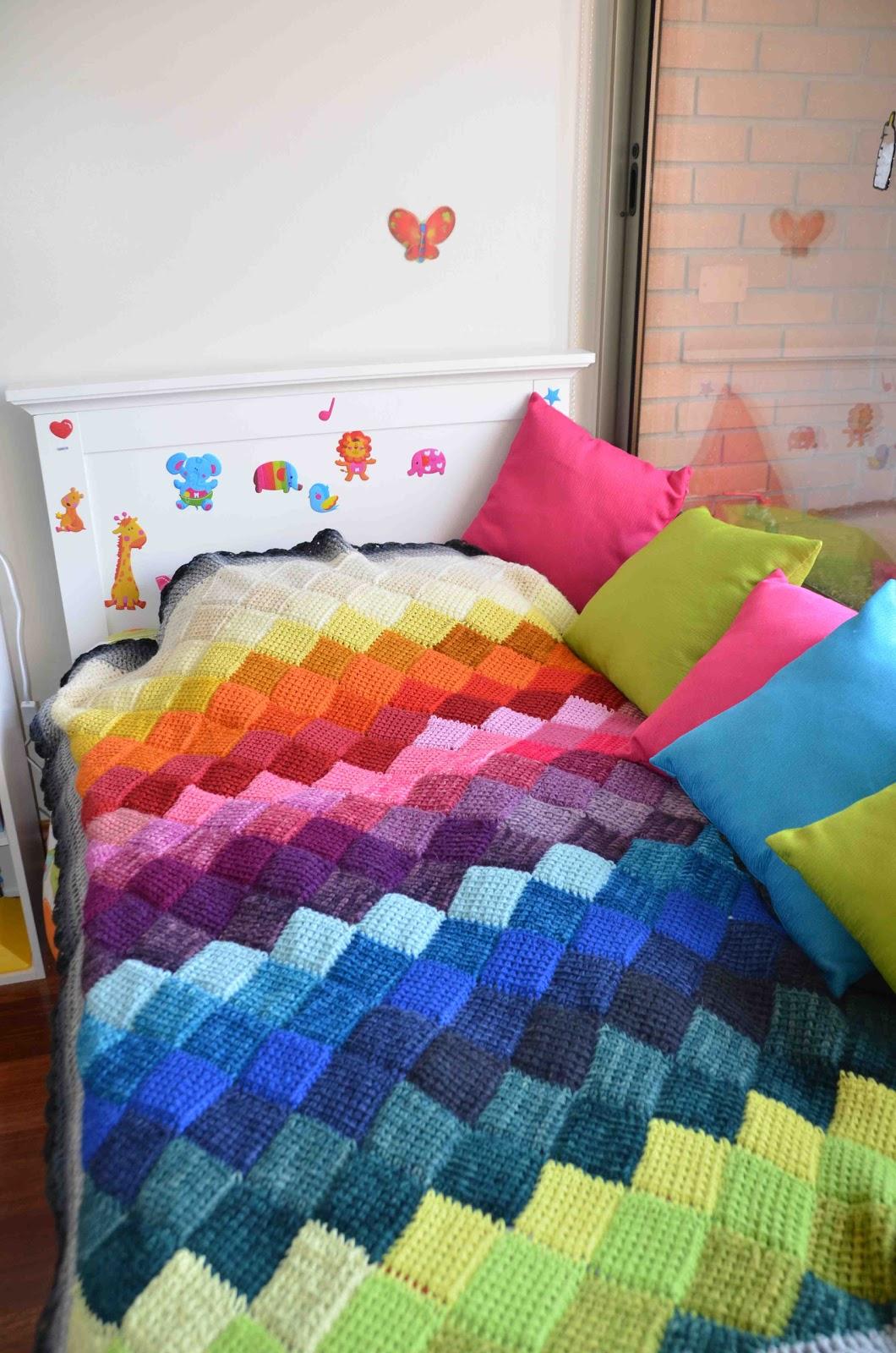 Manta Crochet rombos tunecino, Afghan Crochet Tunisian